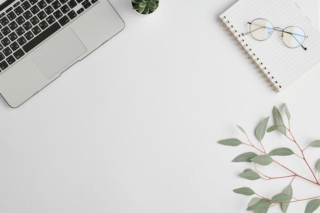 Caderno, óculos, pequena planta doméstica verde em vaso, galho com folhas e teclado de laptop na mesa branca