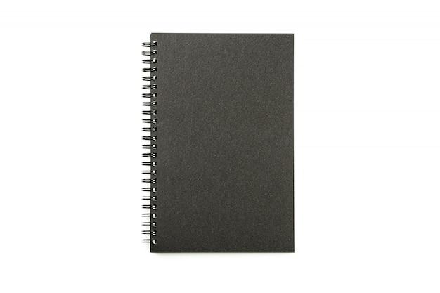 Caderno preto isolado - vista superior.
