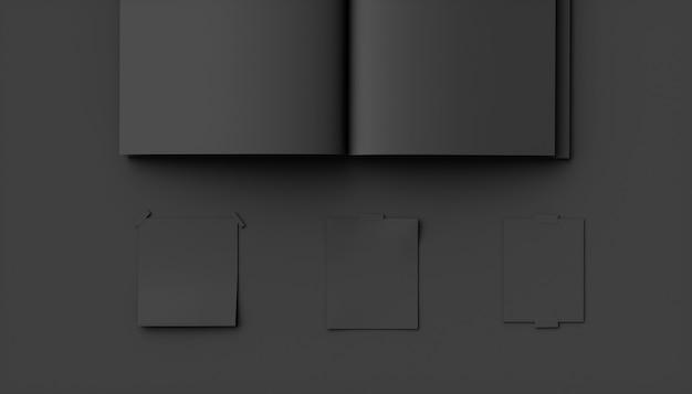 Caderno preto sobre fundo preto, ilustração 3d