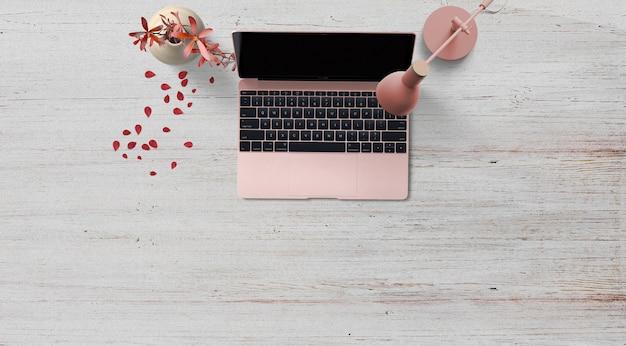 Caderno rosa com uma flor de pétalas de lâmpada