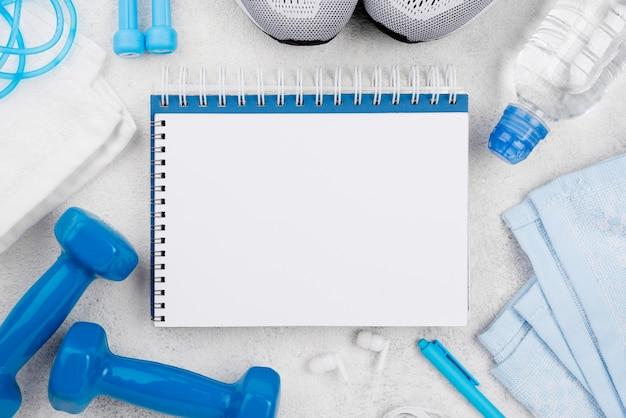 Cadernos de configuração plana com halteres