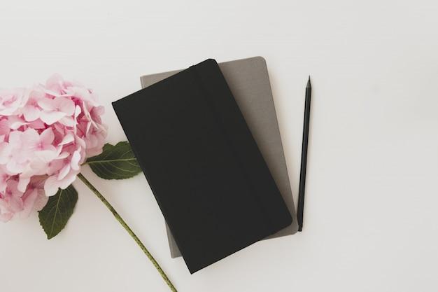 Cadernos, lápis e flor de hortênsia rosa.