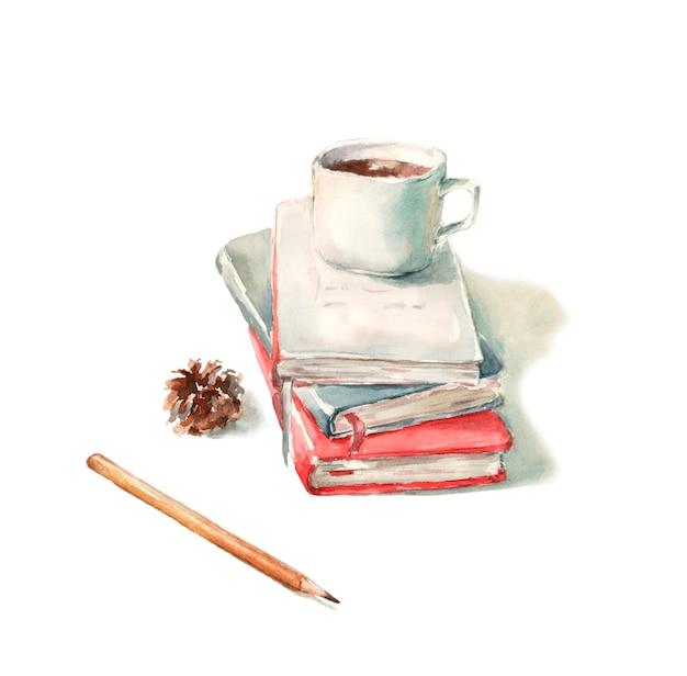 Cadernos, livros e lápis, cone de árvore de natal