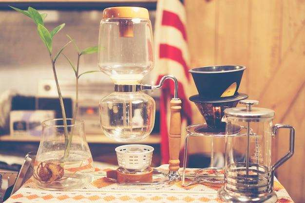 Café café interior, imagem de filtro vintage