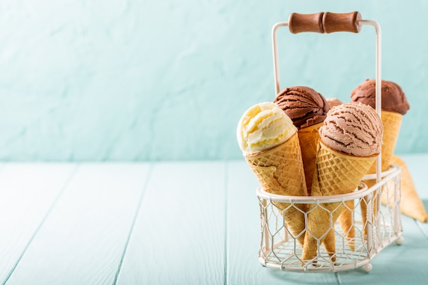 Café caseiro e sorvete de chocolate