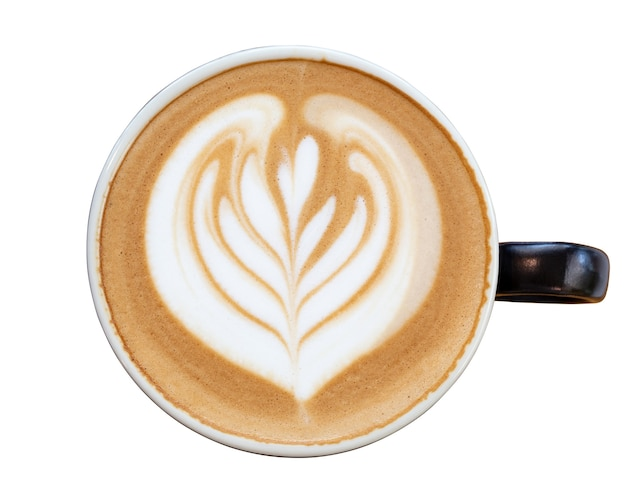 Café com leite quente cappuccino isolado no fundo branco