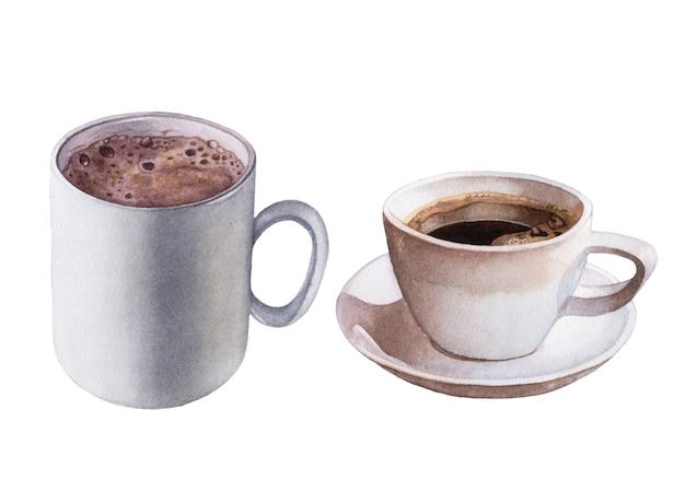 Café da aguarela, bebida do cacau isolada.