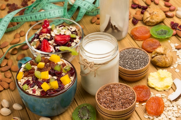 Café da manhã balanceado de muesli. frutas, sementes de frutas vermelhas, nozes, bebida de coco, comida vegetariana de proteína de coco de iogurte. plano de dieta saudável.