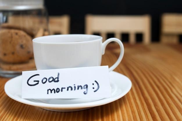 Café da manhã café biscoito copo branco bom dia