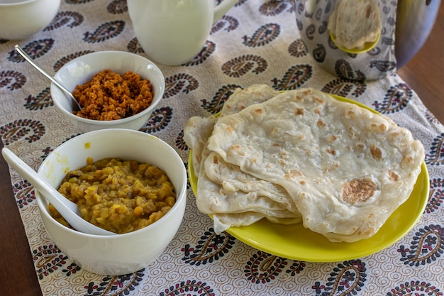 Café da manhã caseiro do sri lanka