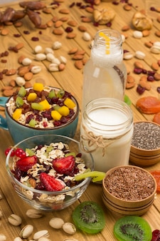 Café da manhã com proteína balanceada de muesli. frutas, sementes de bagas, nozes. bebida de coco e iogurte.