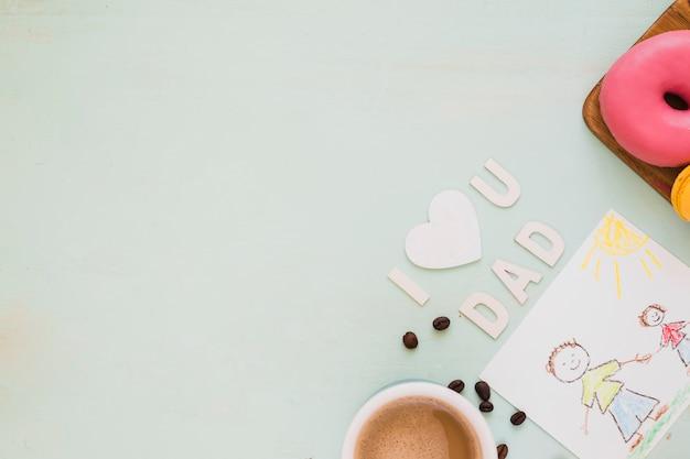 Café da manhã e presente para o pai