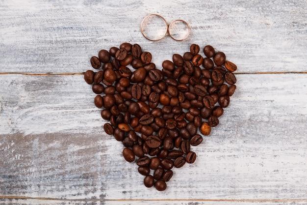 Café de coração e anéis de casamento.