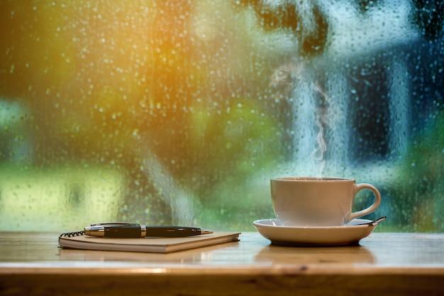 Café e notebook de manhã.