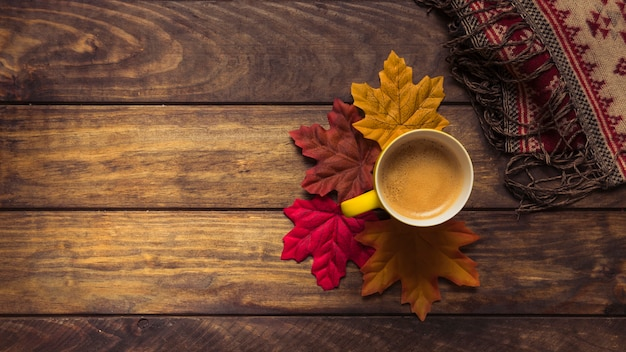Café e outono maple folhas composição