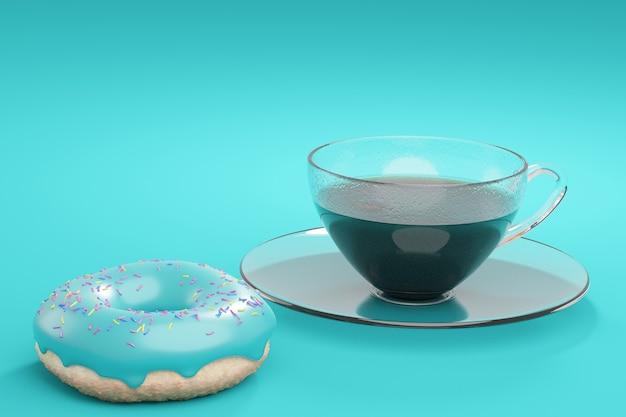 Café em copo de vidro e donut com esmalte turquesa