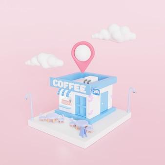 Café minimalista 3d com pino de mapa. ilustração 3d render