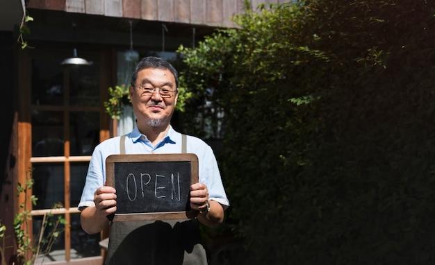 Café open shop retail bem-vindo aviso varejo frente