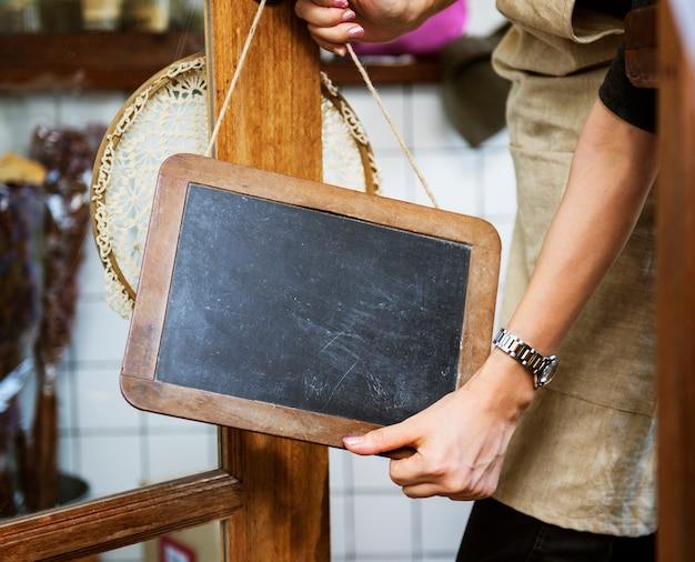 Café open shop varejo aviso de boas-vindas varejo