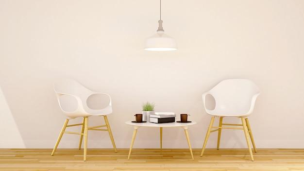 Café ou área de biblioteca design limpo - renderização em 3d
