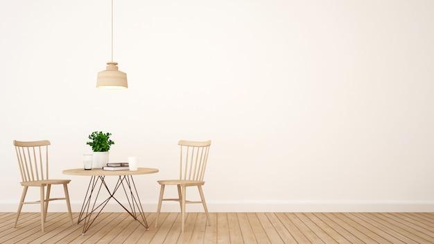 Café ou restaurante design minimalista - renderização em 3d