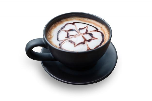 Café quente com espuma de leite art
