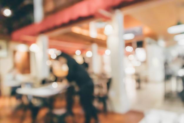 Café restaurante com luzes abstratas bokeh fundo desfocado