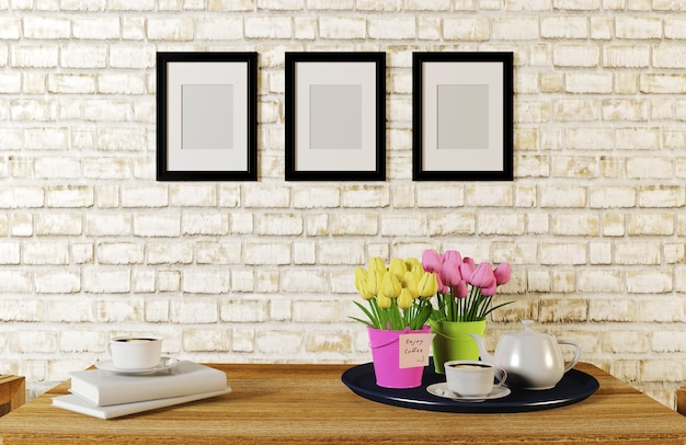 Café servido na mesa na sala de tijolo branco decorado com molduras, renderização em 3d