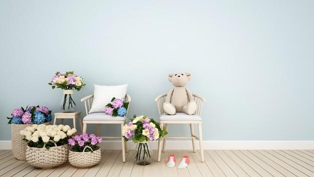 Cafeteria ou kid room decoração flor 3d rendering