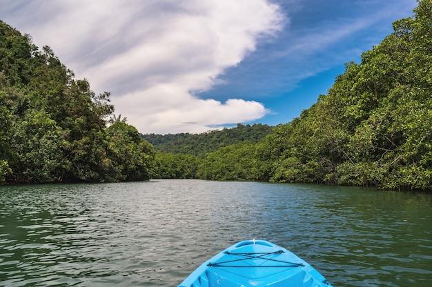 Caiaque no rio klong chao na ilha koh kood trat tailândia. koh kood, também conhecido como ko kut, é uma ilha no golfo da tailândia