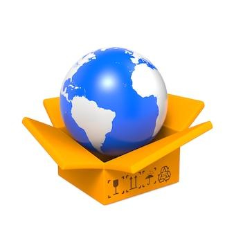 Caixa aberta com globo azul, isolado no branco.