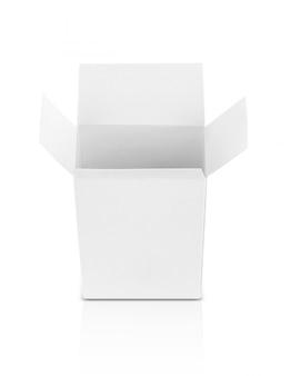 Caixa aberta de papel branco para produtos