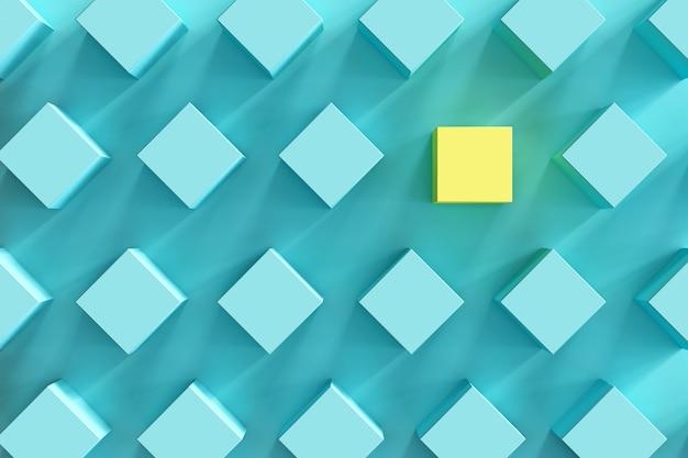 Caixa amarela proeminente entre caixas azuis na luz - fundo azul. mínimo apartamento deitado contept