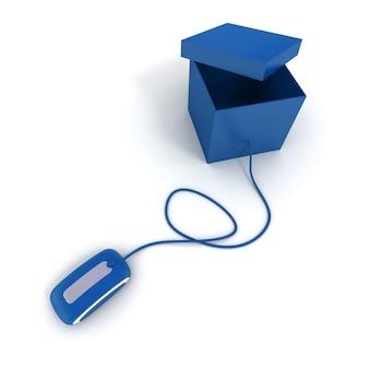 Caixa azul com tampa aberta conectada ao mouse do computador