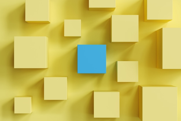 Caixa azul proeminente entre caixas amarelas no fundo amarelo. mínimo apartamento deitado contept