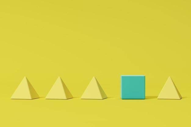 Caixa azul proeminente entre pirâmides quadradas amarelas no fundo amarelo. idéia de conceito mínimo