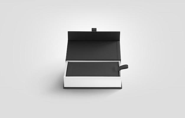 Caixa branca aberta em branco com tampa cinza