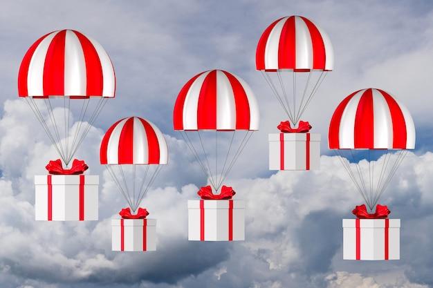 Caixa branca com laço vermelho e pára-quedas no céu. ilustração 3d