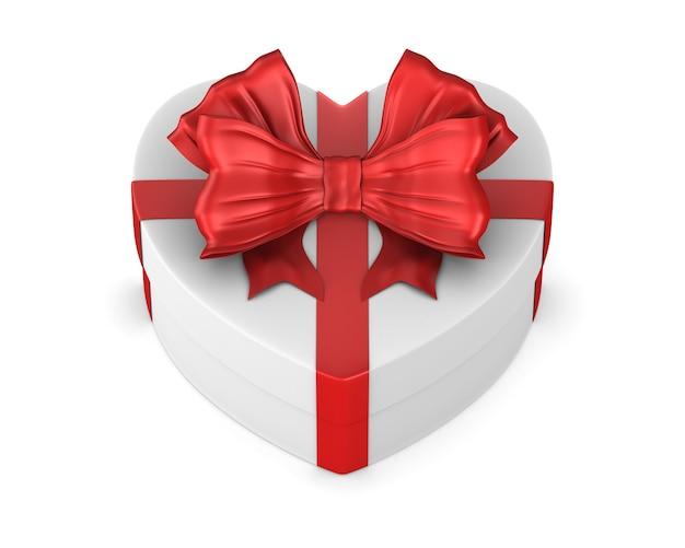 Caixa branca com laço vermelho em fundo branco. ilustração 3d isolada