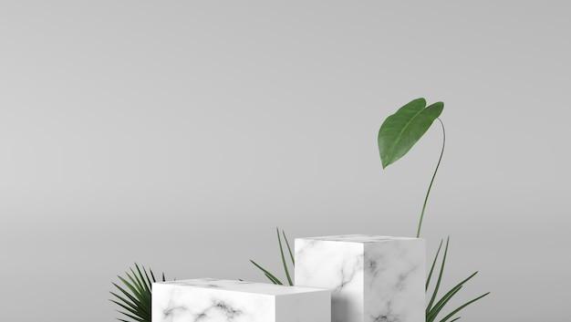Caixa branca de luxo pódio de vitrine de mármore com folhas no fundo