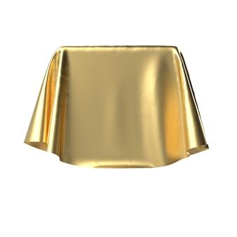 Caixa coberta com tecido dourado.