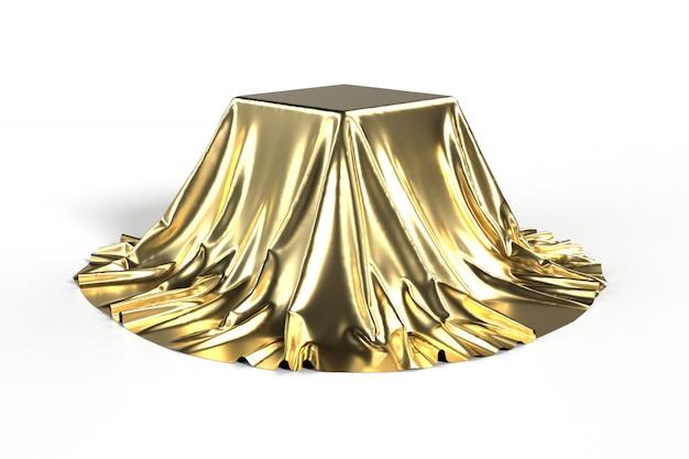 Caixa coberta com tecido dourado