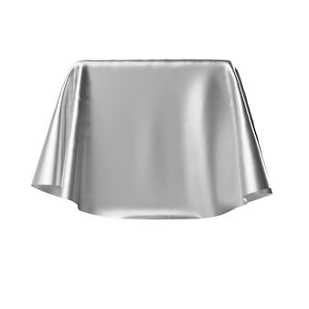 Caixa coberta com tecido prateado.