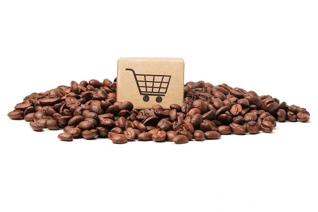 Caixa com ícone de carrinho de compras em grãos de café.