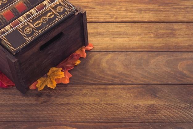 Caixa, com, livros, ligado, folhas
