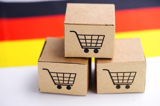 Caixa com logotipo de carrinho de compras e a bandeira da alemanha