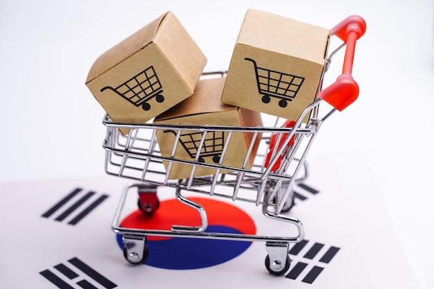Caixa com logotipo de carrinho de compras e a bandeira da coreia