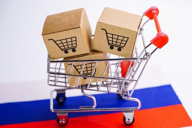 Caixa com logotipo de carrinho de compras e a bandeira da rússia.