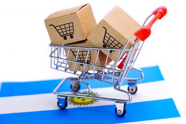 Caixa com logotipo de carrinho de compras na bandeira da argentina