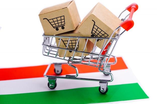 Caixa com logotipo de carrinho de compras na bandeira da hungria
